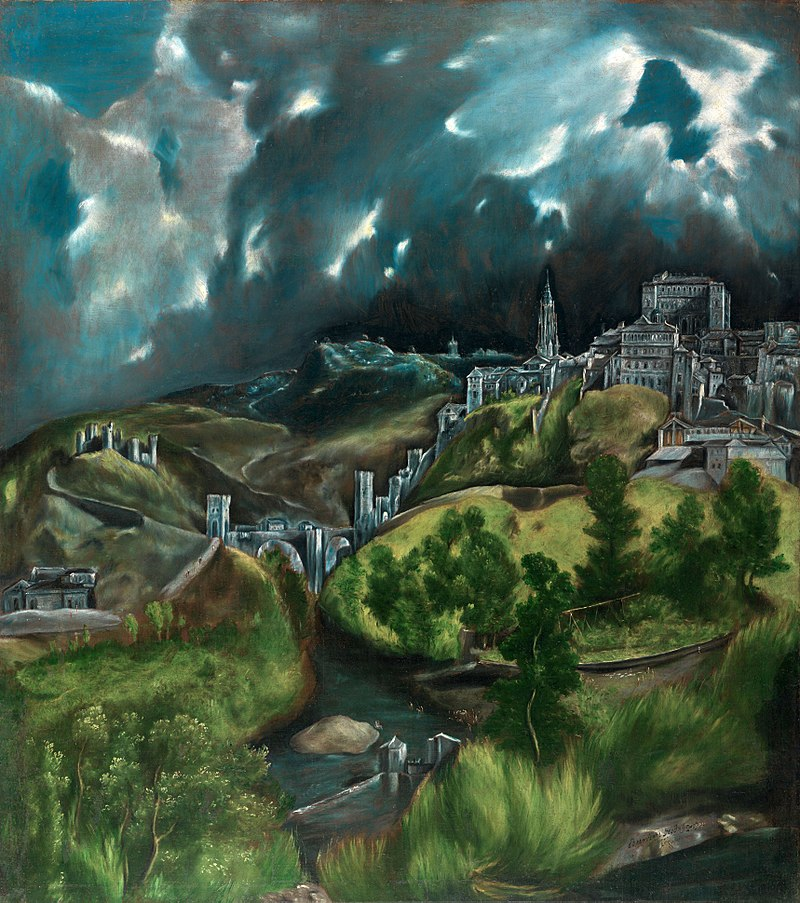 A far-off view of Toledo in 1600, artsily rendered by El Greco